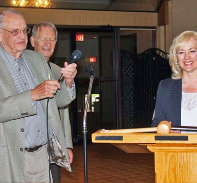 Being thanked by the Brockville Men's Probus Club, 2015